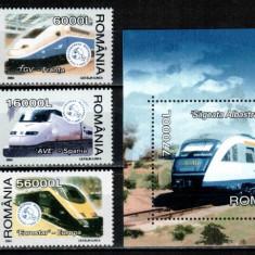 Romania 2004, LP 1631 + 1632, Trenuri moderne, MNH! LP 35, 00 lei - Timbre Romania, Transporturi, Nestampilat