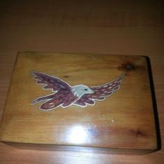 Cutie lemn bijuterii vintage lucrata manual intarzie vultur - Cutie Bijuterii