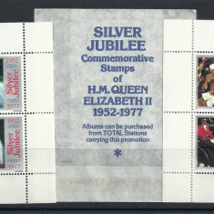 ANGLIA 1977 – JUBILEUL DE ARGINT, 2 colite MNH, F102 - Timbre straine, Nestampilat