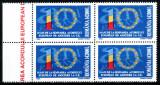 Romania 2003, LP 1603, 10 ani de la Acordul UE, bloc de 4, MNH! LP 100,00 lei, Organizatii internationale, Nestampilat