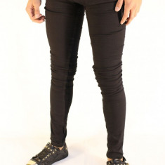 Blugi barbati conici pana negri simpli  elastici slimfit casual