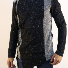 Bluza barbati asimetrica cu fermoar neagra cu imprimeuri subtire slimfit fashion