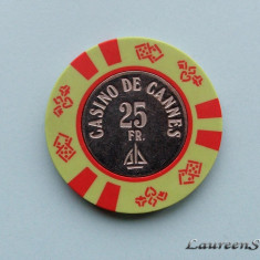 Jeton - CASINO DE CANNES - 25 Francs - Poker chips