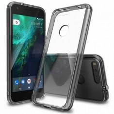 Husa Protectie Spate Ringke Fusion Smoke Black plus folie protectie display pentru Google Pixel XL - Husa Telefon