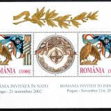 Romania 2002, LP 1598 b, Romania invitata in NATO, bloc, MNH! LP 40,70 lei, Organizatii internationale, Nestampilat
