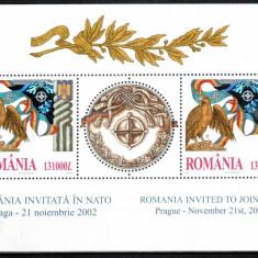 Romania 2002, LP 1598 b, Romania invitata in NATO, bloc, MNH! LP 40,70 lei