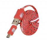 Cablu de date Snur Micro USB Type-C cu LED Rosu