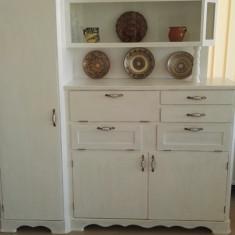 Bufet de bucatarie din lemn alb, antichizat - Bufet bucatarie