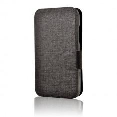 Husa Flip Cover Lemontti Book Jelly pentru Vodafone Smart 4 Negru - Husa Telefon Lemontti, Vinyl, Cu clapeta