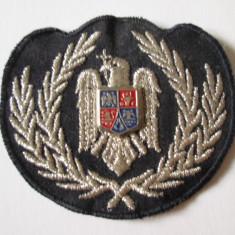 Emblema textila, cuc cascheta subofiter politia romana/dimensiuni=70 x 65 mm