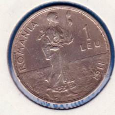 (R) MONEDA DIN ARGINT ROMANIA - 1 LEU 1911, CAROL I - Moneda Romania