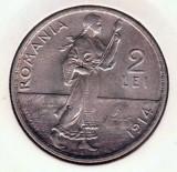 (R) MONEDA DIN ARGINT ROMANIA - 2 LEI 1914, CAROL I, VARIANTA HAMBURG