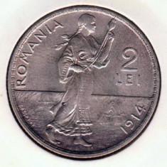 (R) MONEDA DIN ARGINT ROMANIA - 2 LEI 1914, CAROL I, VARIANTA HAMBURG - Moneda Romania