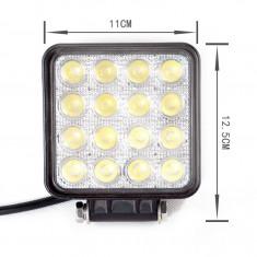 Proiector LED auto offroad 48W 3500 lumeni patrat proiectoare