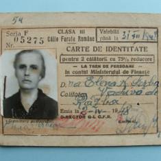 Caile Ferate Romane - CARTE DE IDENTITATE pentru 2 calatorii - 1948, Romania 1900 - 1950, Documente