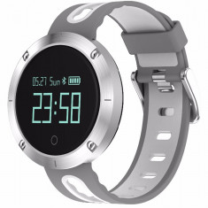 Bratara Fitness iUni DM58 Plus, Waterproof, Display OLED, Ceas, Pedometru, Monitorizare puls, Notificari, Alb-Gri