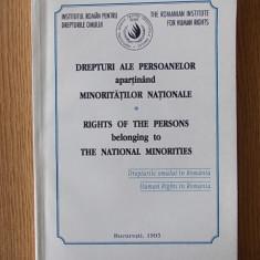 DREPTURI ALE PERSOANELOR APARTINAND MINORITATILOR NATIONALE- ZLATESCU - Carte Legislatie