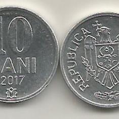 MOLDOVA 10 BANI 2017 [1] UNC, livrare in cartonas, Europa, Aluminiu