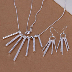Lant cu cercei set bijuterii cilindrii placat argint 925 - Set bijuterii argint