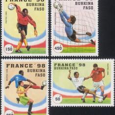 BURKINA FASO 1998 FOTBAL CUPA MONDIALA - Timbre straine, Nestampilat