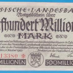 (1) BANCNOTA GERMANIA - HESSISCHE LANDESBANK - 500 MILLIONEN MARK 1923