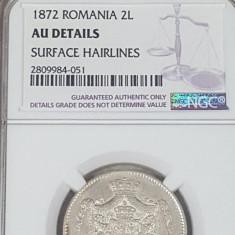 NGC 2 lei 1872 AU Details - Moneda Romania
