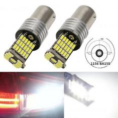 Bec BA15S LED 45x SMD4014 Alb Xenon 6500k DRL pozitie marsarier 1156 A070 - Led auto EuropeAsia, Universal
