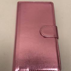 Husa carte Samsung Galaxy S6 Edge Plus roz metalizat - Husa Telefon, Piele Ecologica, Cu clapeta