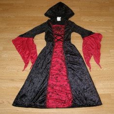 Costum carnaval serbare regina contesa gotica pentru copii de 6-7 ani - Costum Halloween, Marime: Masura unica, Culoare: Din imagine