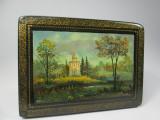 f Caseta veche ruseasca pictata manual, cutie Rusia semnata