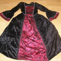 Costum carnaval serbare regina rochie medievala pentru copii de 7-8 ani - Costum Halloween, Marime: Masura unica, Culoare: Din imagine