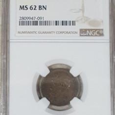 NGC 2 bani 1879 MS 62 BN - Moneda Romania