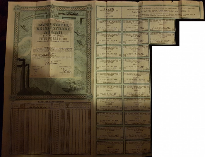 IMPRUMUTUL DE INZESTRARE A TARII 1000 LEI 1934