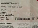 Bilet (printat) meci fotbal DANEMARCA - ROMANIA (08.10.2017)