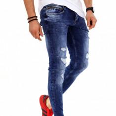 Blugi barbati albastri - conici cu model- COLECTIE NOUA  - 9614, 31, 32, 34, Slim Fit
