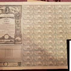 IMPRUMUTUL REINTREGIRII 5000 LEI 1941 55 CUPOANE CU BORDEROU DE PROPRIETATE
