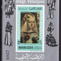 Aden - Mahra 1968 pictura Velasquez MI bl.10B MNH w49 - Timbre straine, Nestampilat