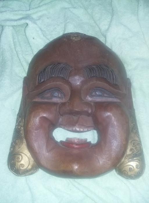 masca veche BUDDHA,masca veche lemn de colectie BUDDHA Zambind Transport GRATUIT