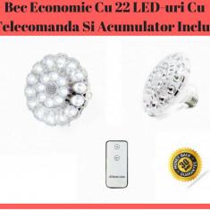 Bec Economic Cu 22 LED-uri Cu Telecomanda Si Acumulator Inclus