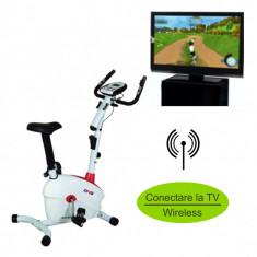 Bicicleta magnetica DHS 2411 - Conectare wireless la LCD sau TV, Bicicleta verticala magnetica, Max. 120