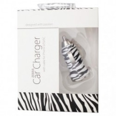 Incarcator Auto USB+Cablu date Iphone 3/4 Forever model - Zebra