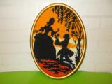 Vechi TABLOU CUSUT cu SCENA ROMANTICA de epoca  , rama din LEMN AURIT / GOBLEN
