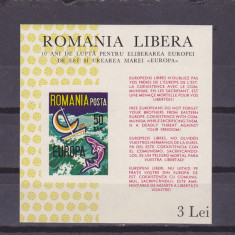 EXIL ROMANIA,EUROPA CEPT 1966,BLOC ,NEUZAT.