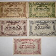 Colectie lot 5 bancnote diferite Ungaria 1946 Adopengo, An: 1915, Europa
