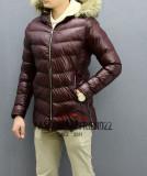 Geaca de piele bordo bordo groasa de iarna