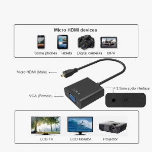 Adaptor convertor micro HDMI la VGA + cablu audio pt PC laptop tableta proiector