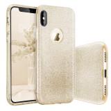 Husa iPhone X - Cu Sclipici Auriu, Gel TPU