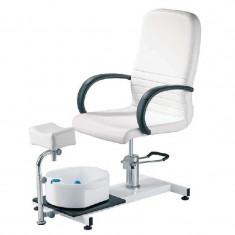 Scaun pentru pedichiura cu cadita, piele ecologica, alb