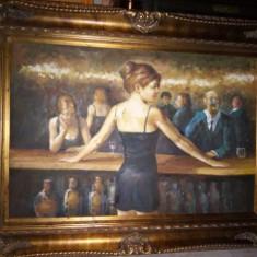 Ulei pe panza o lucrare in stilul Art-Deco cu o rama foarte lata din lemn masiv - Pictor strain, Portrete, Realism