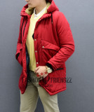 Geaca lunga de fas barbati slimfit rosie groasa de iarna, XXL, Rosu